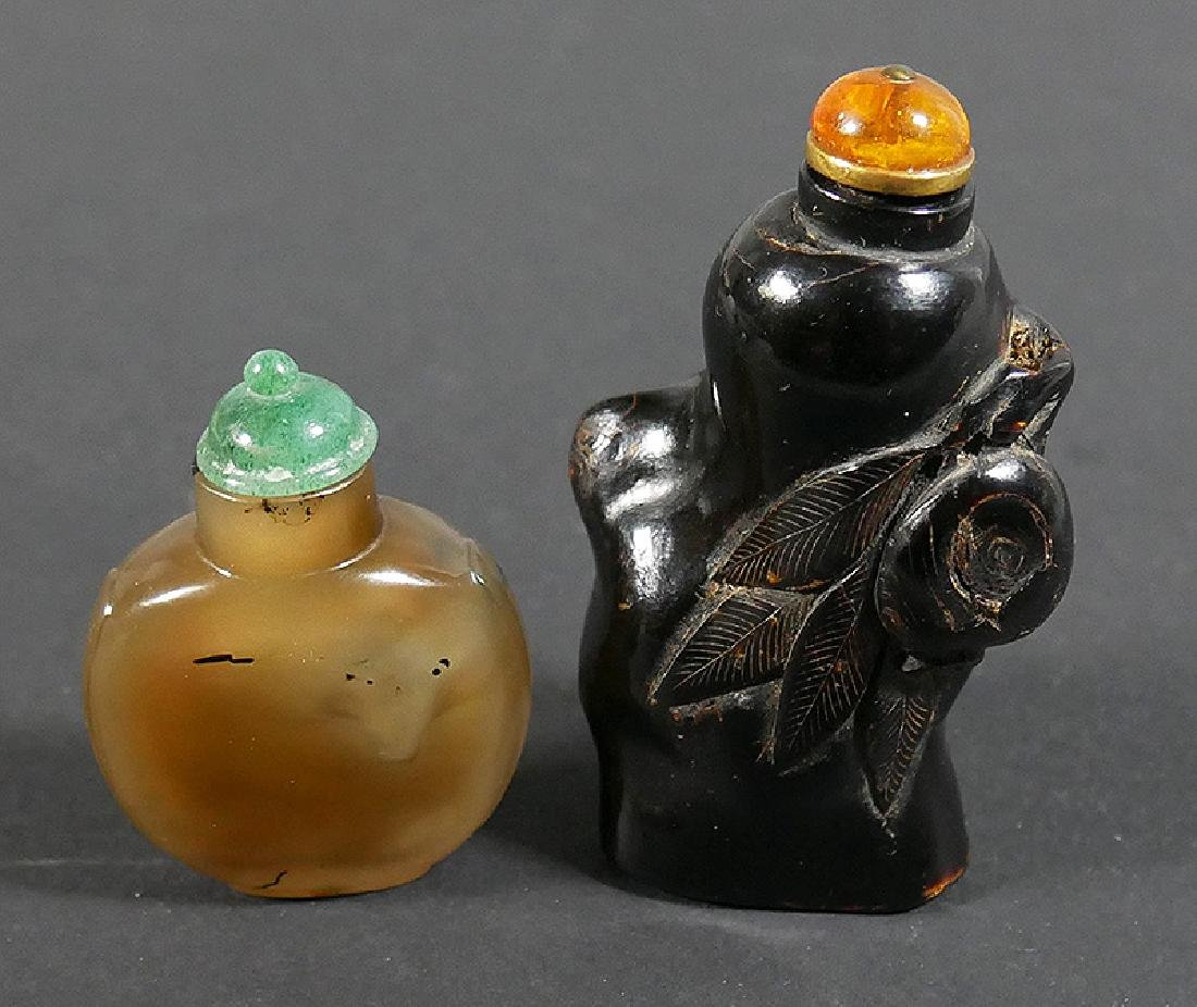 Two Antique Chinese Snuff Bottles Agate & Horn