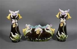 Art Nouveau Flower Majolica Centerpiece  Vases
