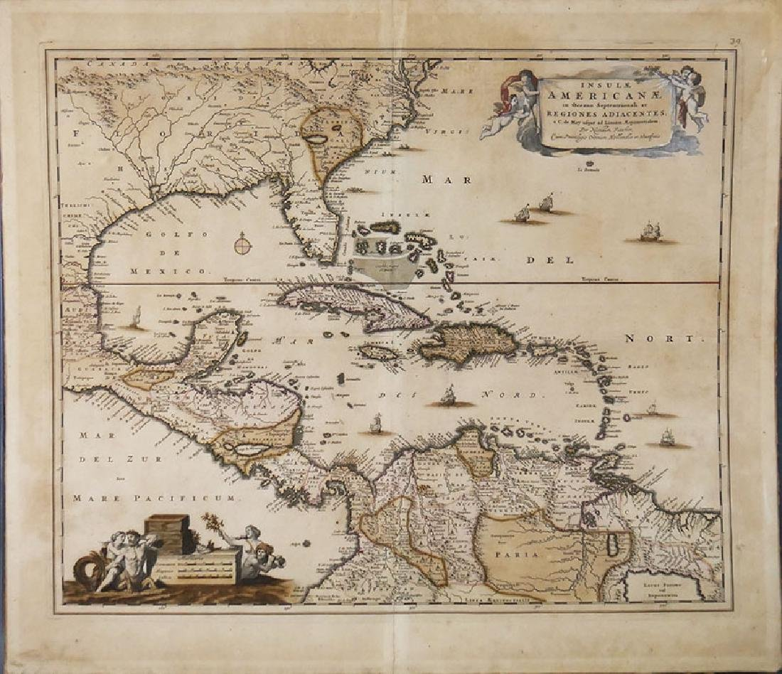 1680 Handcolored Map of America by Visscher