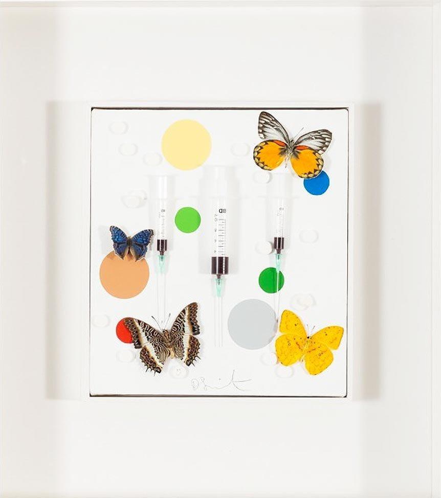 Damien Hirst 'Happy': Mixed Media on Canvas, 2008