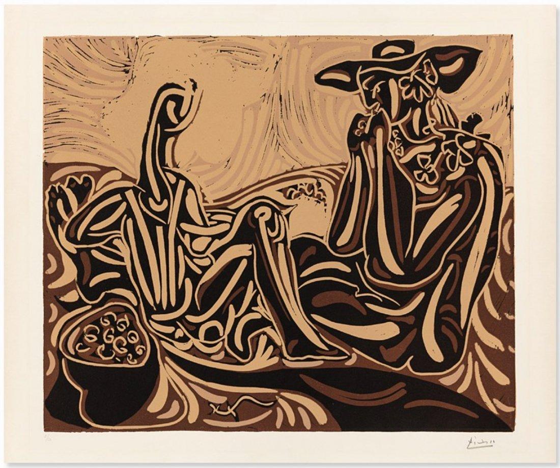 Les vendangeurs by Pablo Picasso: Linocut 1959