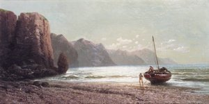 7: 19th Century School Figures and shipping in a coasta