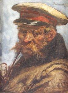 10: E. Van den Bossche Portrait of an old soldier smoki