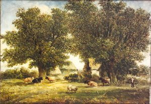 12: A. Vickers Cattle, sheep and farm-hand in a wooded