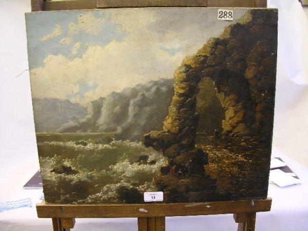 13: R Abrahaml Figures in a coastal landscape Oil on ca