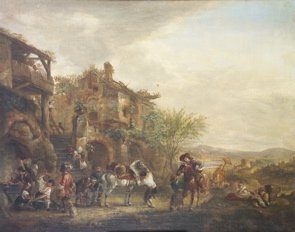 21: Philip Wouvermans A group of travellers at a farrie