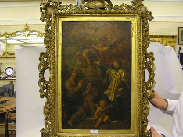49: 18th Century School Saint with angels Oil on canvas