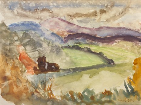 3021: Gerard Dillon, (1916-1971) Country Landscape Wate
