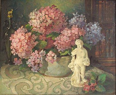 4007: J. Prochazka Still life with porcelain figure of