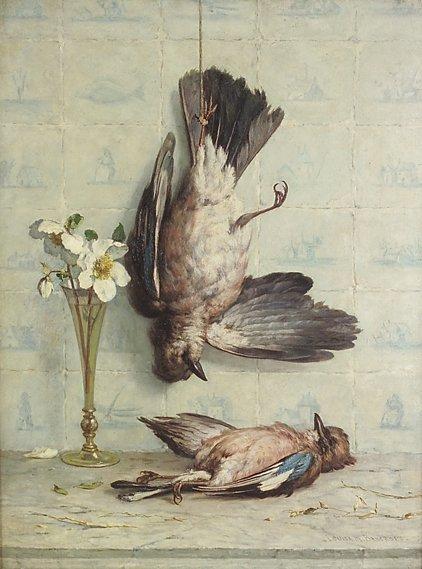 4013: Louisa M. Bancroft Still life with jays Oil on ca