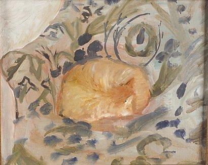 4019: Simon McKinstey (20th Century) Sleeping Cat in Ar
