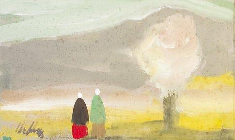 4286: Markey Robinson (1918-1999) Shawlies in a Landsca