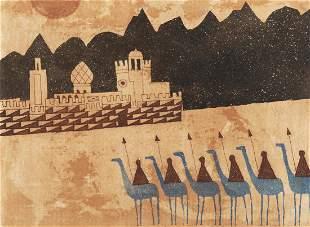 JULIAN TREVELYAN RA (1910-1988) Camel Corps Etching, 35