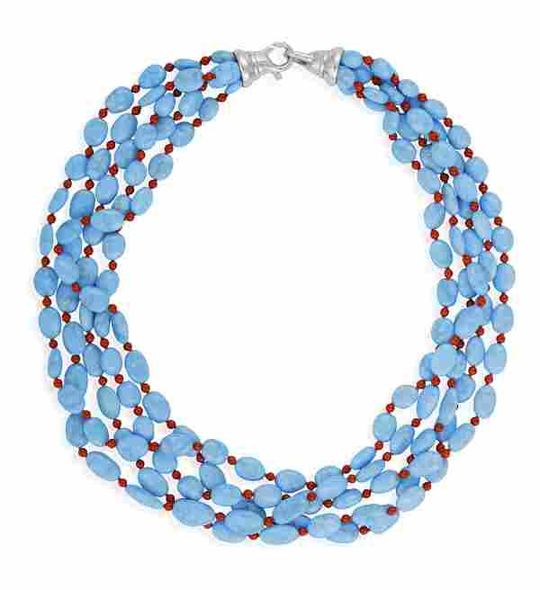 A TURQUOISE AND CORAL BEAD NECKLACE Composed of five