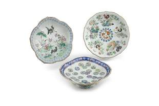 A GROUP OF THREE (3) LARGE FAMILLE ROSE PORCELAIN