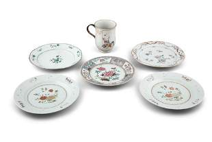 A GROUP OF SIX (6) MOSTLY FAMILLE ROSE PALETTE CHINESE