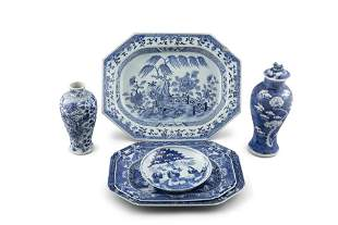 A GROUP OF SIX (6) BLUE AND WHITE PORCELAIN PIECES