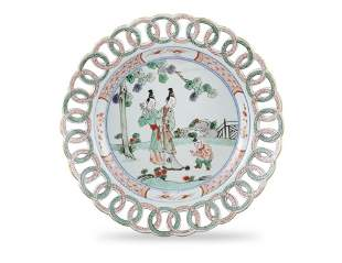 A RETICULATED WING FAMILLE VERTE PORCELAIN DISH China,