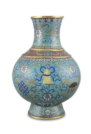 A LARGE 'ASHTAMANGALA' CLOISONNE BRONZE JAR, HU China,