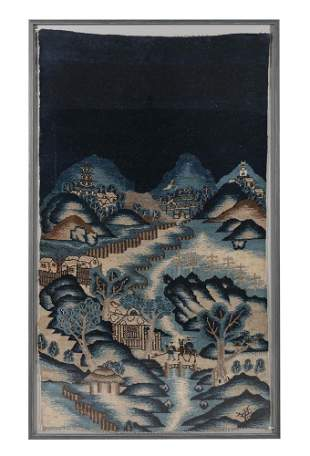 AN ANTIQUE CHINESE HAND-KNOTTED PICTORIAL WOOL RUG