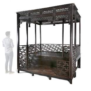 *A CHINESE HARDWOOD CANOPY BED, JIAZICHUANG China, Qing