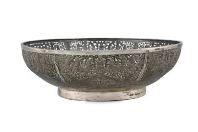 A LARGE RETICULATED 'ANGKOR VAT' SILVER BOWL  Siam /