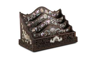 *A MOTHER-OF-PEARL INLAYS 'FOUR BENEVOLENT ANIMALS'