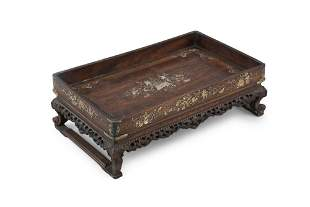 *A MOTHER OF PEARL INLAID WOODEN MANDARIN TRAY Vietnam,