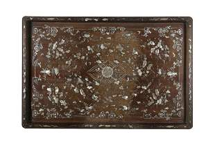 *A MOTHER OF PEARL INLAID WOODEN MANDARIN TRAY