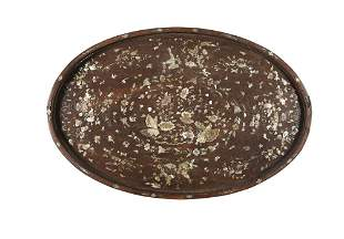*AN OVATE MOTHER-OF-PEARL INLAID WOODEN MANDARIN TRAY