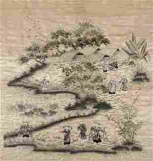 A 'PROCESSION' EMBROIDERED SILK PANEL Vietnam /