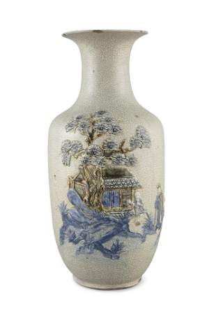 A RELIEF-DECORATED CRACKLED-GLAZED BALUSTER STONEWARE