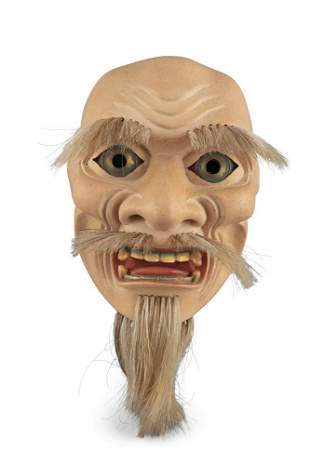 A PROBABLY KYOGEN THEATER MASK OF AN OLD MAN Japan,
