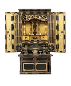 A GILT AND BLACK LACQUERED WOODEN ALTAR, BUTSUDAN