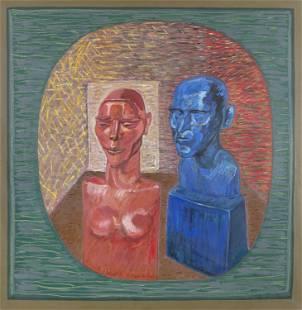 Brian Bourke HRHA (b.1936) Two Painted Bronze Heads Oil