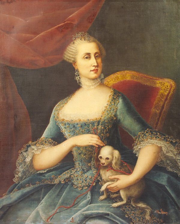 10: French School 18th Century Portrait of a lady in bl