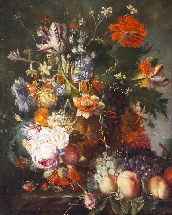 20: 19th Century Continental School Still Life of Flowe