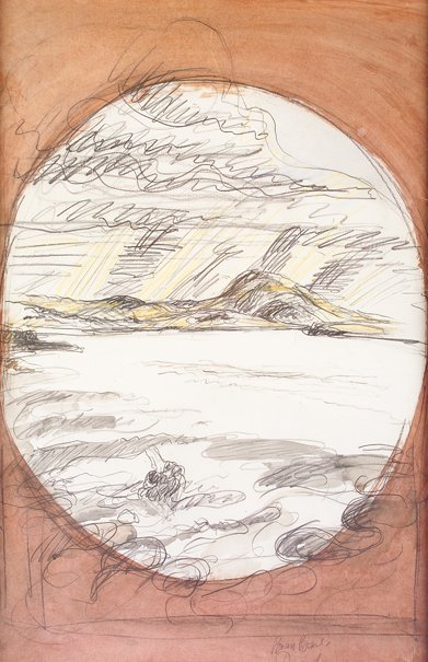 1017: Brian Bourke, (b.1936) Donegal Pencil and water c