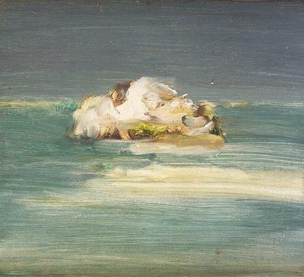 1104: Barrie Cooke HRHA (b. 1931) Loch Carra Oil on boa