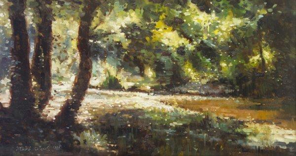 2002: Mark O'Neill (b.1963) River Through a Woodland Oi