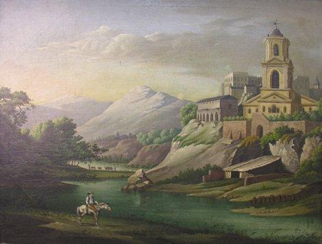 1002: Italian School 19th Century Figures on horseback