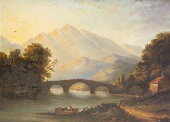 1005: Victorian School Bridge in Mountain Landscape wit