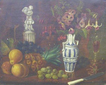 1008: English School 19th Century Still life with fruit