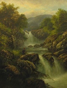 1012: G.B Yarnold Fishermen in Mountain River Landscape
