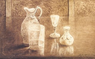1018: A. D. Martin Still life with jug and glasses Mono