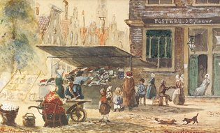 1019: Emud Hoven Market Study Watercolour, 8 x 13cm Sig