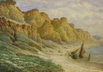1024: Phillip Brannon, (1817-1890) Busy Coastal Scene W