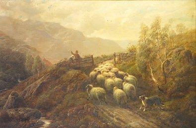 1029: R. Watson Herding Sheep Oil on canvas, 59.5 x 90c