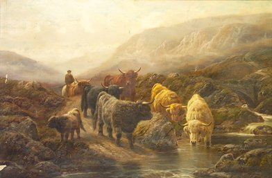 1030: R. Watson Highland Cattle Watering Oil on canvas,