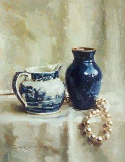 2001: Mark O'Neill (b.1963) Blue on White  Oil on board